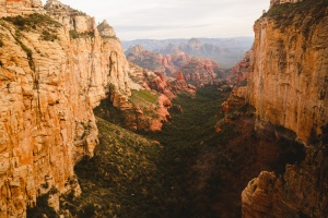Boynton Canyon in Sedona, Arizona as seen from a helicopter