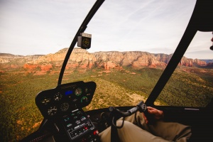 Sedona Arizona as seen from above in a helicopter