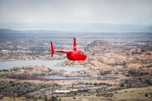 Helicopter flying over Prescott